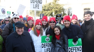 Teens from the Cathedral of Saint Thomas More with Bishop Loverde at the March for Life.