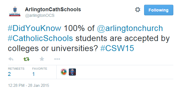 Our newest diocesan Twitter account @arlingtonOCS used this week to highlight #DidYouKnow facts about Catholic Schools in the diocese.