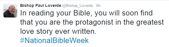 Bishop Loverde national bible week tweet